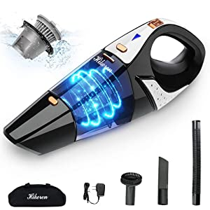 Handheld Cordless Vacuum, Mini Vacuum Cleaner Handheld Powered by Li-ion Battery Rechargeable Quick Charge Tech,HIKEREN, High Power,for Home and Car Cleaning, Wet & Dry,Gold