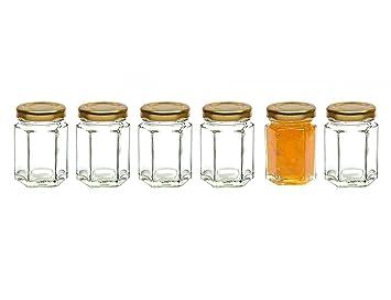 healthcom 6 pcs Mini hexagonal botes de cristal claro Mason tarros de conservas con tapas de