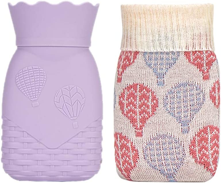 Xboun Microwave Heating Bottle Environmental Silicone Transparent Hot Water Bag with Knit Cover, Hot & Cold Therapies-Gift for Birthday, Christmas, Valentine's Day, Gift Exchange Party (Small, Purple)