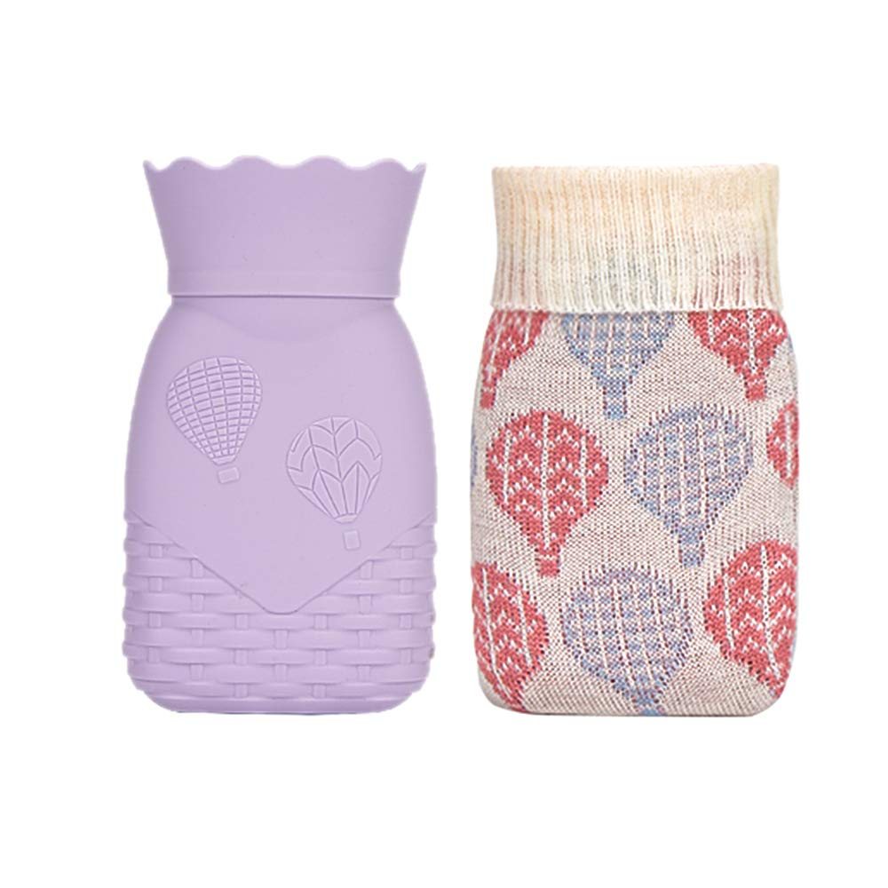 Hot Water Bottle, Xboun Heating Bottle Environmental Silicone Hot Water Bag with Knit Cover-Great for Pain Relief, Hot&Cold Therapy-Gift for Girls Babys, Christmas, Gift Exchange Pary (Small, Purple) by Xboun