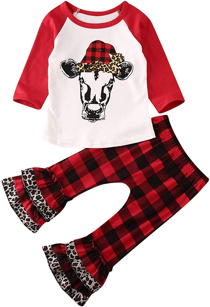 Red Plaid Pants Clothes Sets 2Pcs Little Girls Christmas Outfits Long Sleeve Deer Print Lace Tops