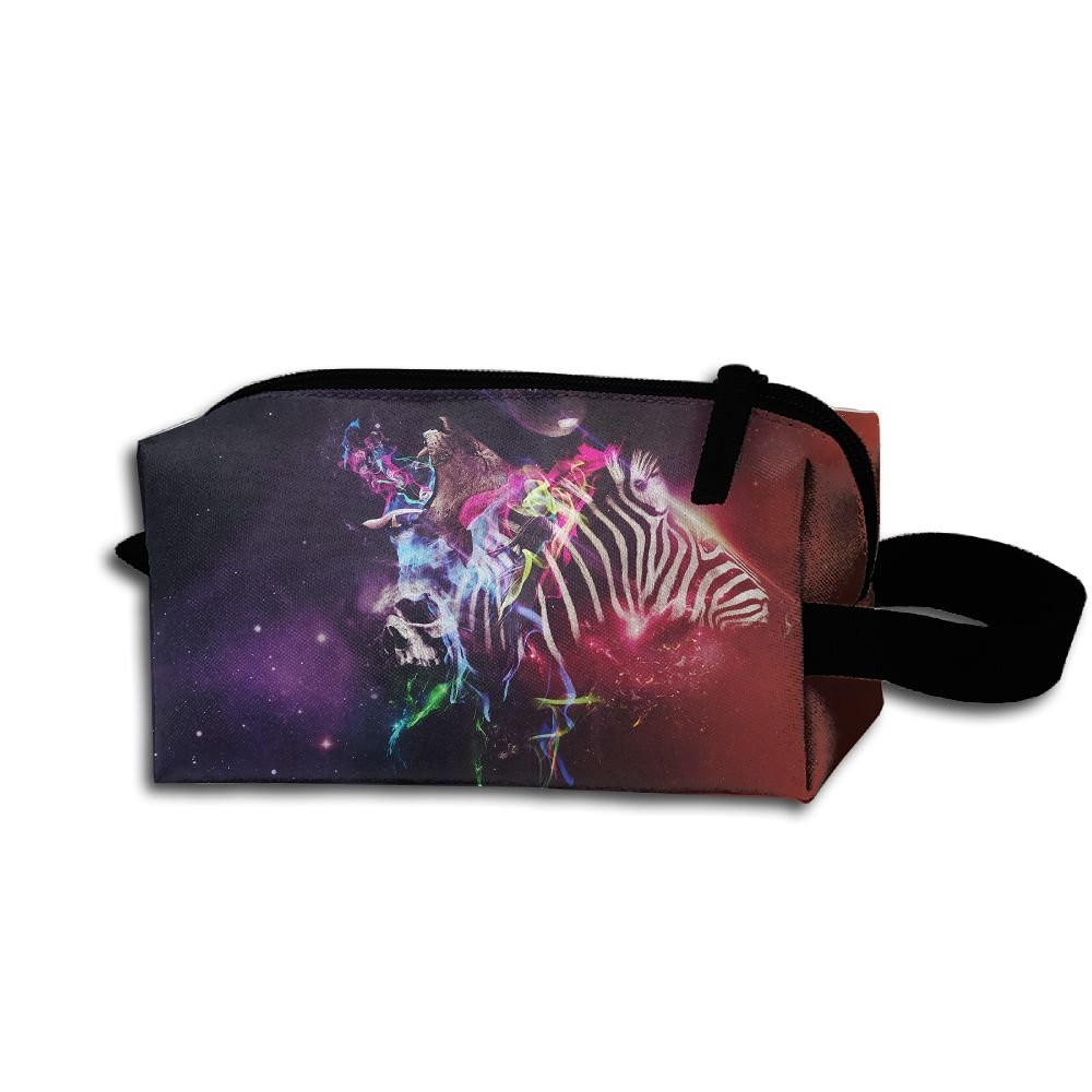 Makeup Cosmetic Bag Space Animals Colorful Abstract Medicine Bag Zip Travel Portable Storage Pouch For Mens Womens
