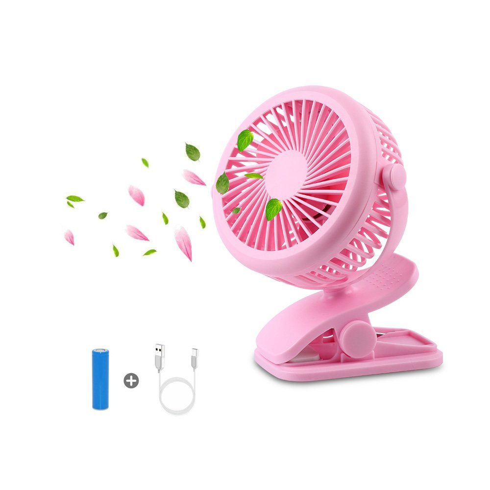 Drimran Mini Clip on Fan Stroller, 360 Degree Fully Adjustable Table-Top Desk Fan with USB Charge Battery Operated, Powerful 3 Speeds Quiet Personal Fan for Baby Stroller Office Home (Pink)