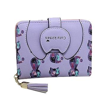 Malloom® Mujeres Gatos monedero de la cartera a corto Bolsas Bolsos titular de la tarjeta (morado): Amazon.es: Hogar
