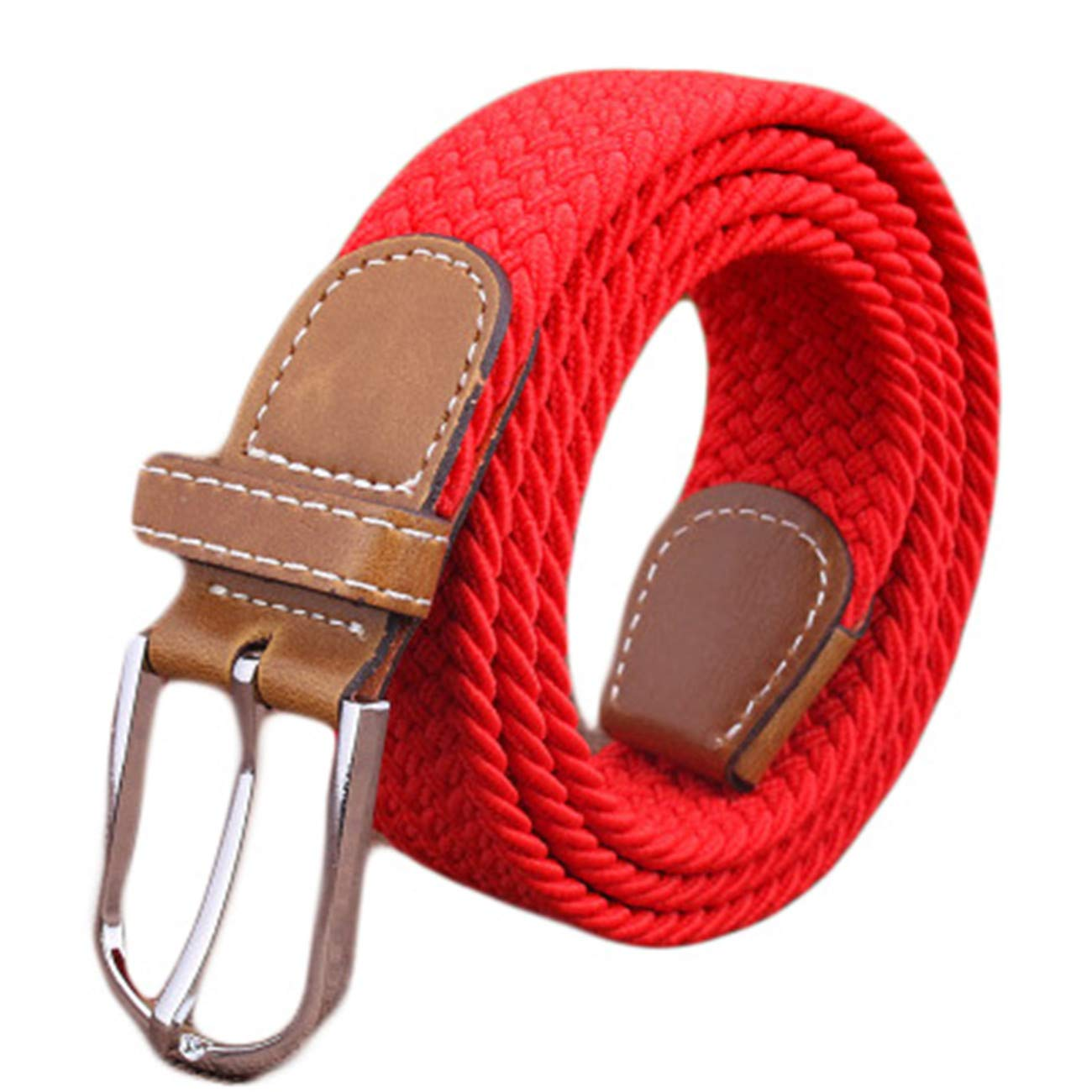 Andongnywell Men Braided Canvas Stretch Belt Casual Woven Elastic Belts with Pin Buckle for Women//Junior