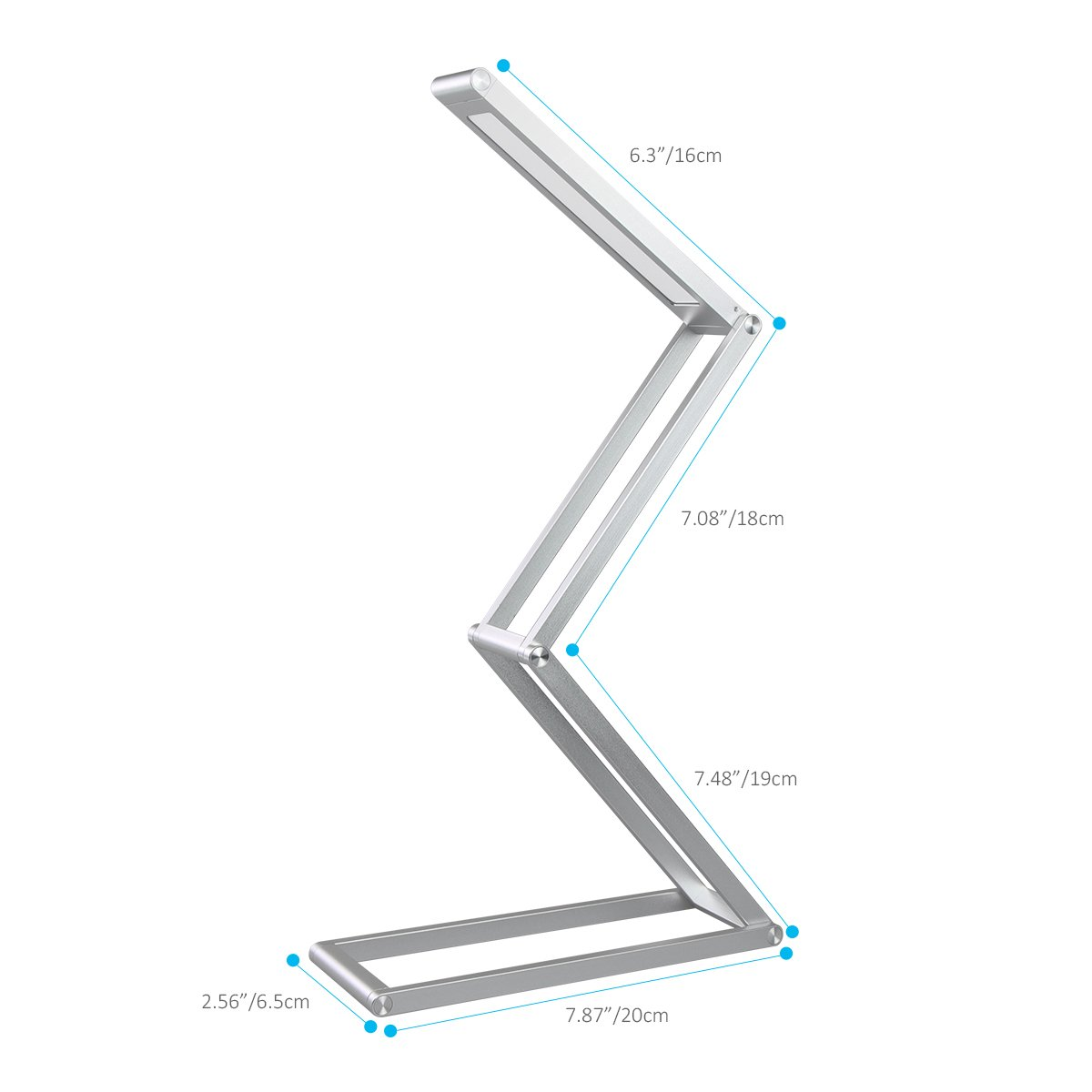 Elzo Rechargeable LED Desk Lamp, Portable Dimmable Table Lamp, USB Charging Port, 2 Brightness Levels, Aluminum Alloy Folding Lamp with Wall Mount for Reading Studying Working Camping (Silver) by ELZO (Image #5)