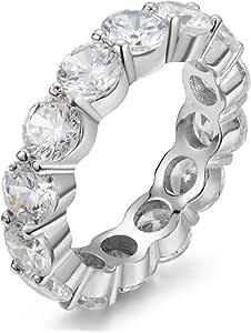 Divine Elegance Women's Sterling Silver 5mm Round CZ Wedding Ring, 7