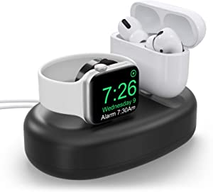 MORETEK Charger Stand Compatible with Apple Watch 38mm 40mm 42mm 44mm,AirPods Charger Dock Apple Watch Charging Stand Holder Accessory for iWatch 6 5 4 3 2 1 SE AirPods Pro/3(Black,Cable NOT Included)