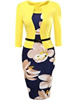 BubbleKiss Women Colorblock Floral Print Wear to Work Business Office Party Bodycon One-piece Dress