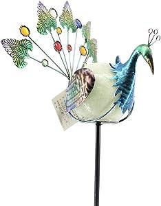 "Comfy Hour 44"" Height Blue Metal Art Noctilucent Luminous Paint Glass Globe Peacock Garden Stake"