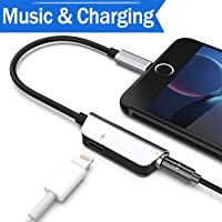 Headphone Adapter for iPhone 8/8Plus 7/7Plus X 10 XS Female Earbud Adapter Cable Aux Audio Headphone Jack 3.5 mm Splitter Adaptor Earphone with Music+Charge Phone Accessory iOS 11/12 System Later