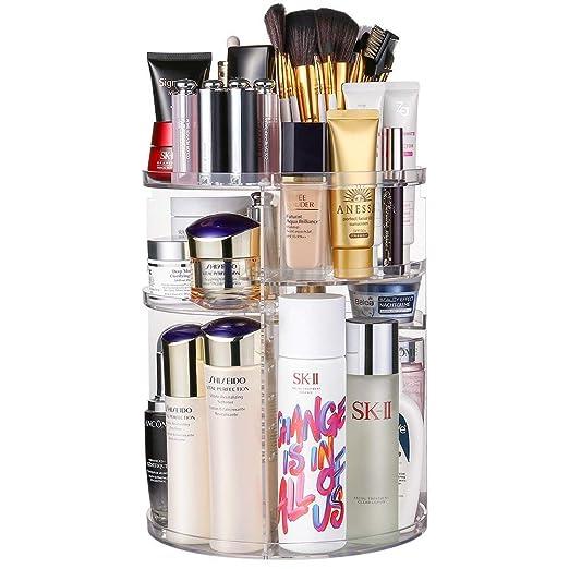 JSBelle Organizador de Maquillaje 360 Grados de rotación Organizador de Maquillaje Caja de Almacenamiento de cosméticos multifunción Ajustable Circu