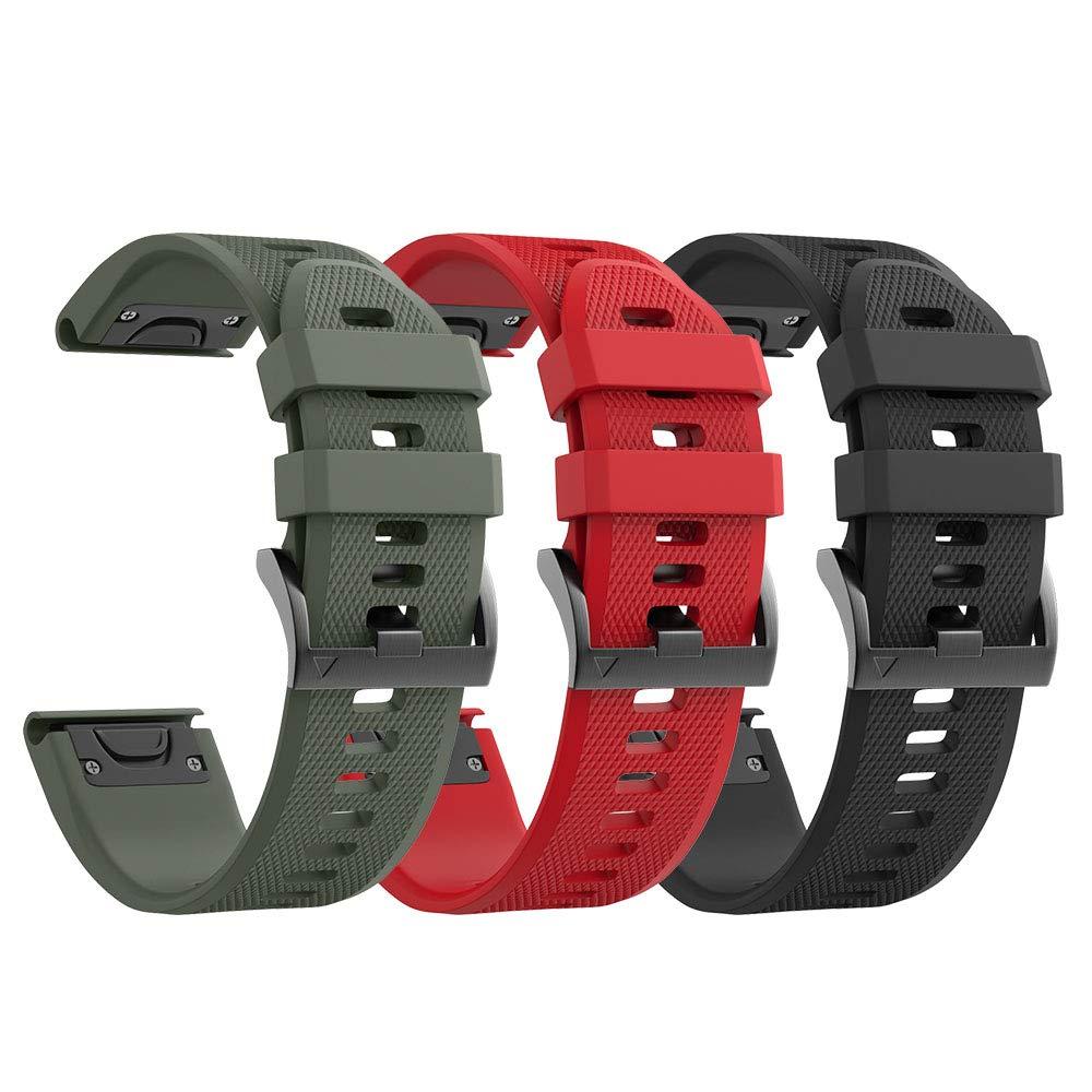 Notocity Compatible Garmin Fenix 5 Band 22mm Width Soft Silicone Watch Strap for Garmin Fenix 5/Fenix 5 Plus/Forerunner 935/Approach S60/Quatix 5(3 PCS Pack)