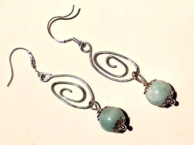Amazon.com: Larimar Earring, Sterling Silver Earring, Designer ...