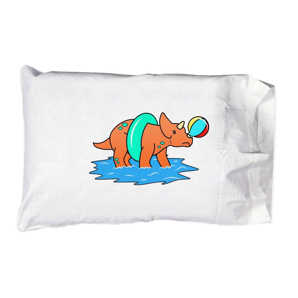Hat Shark Pillow Case Single Pillowcase - Triceratops Pops Beach Ball and Is Sad Ocean Fun Cute