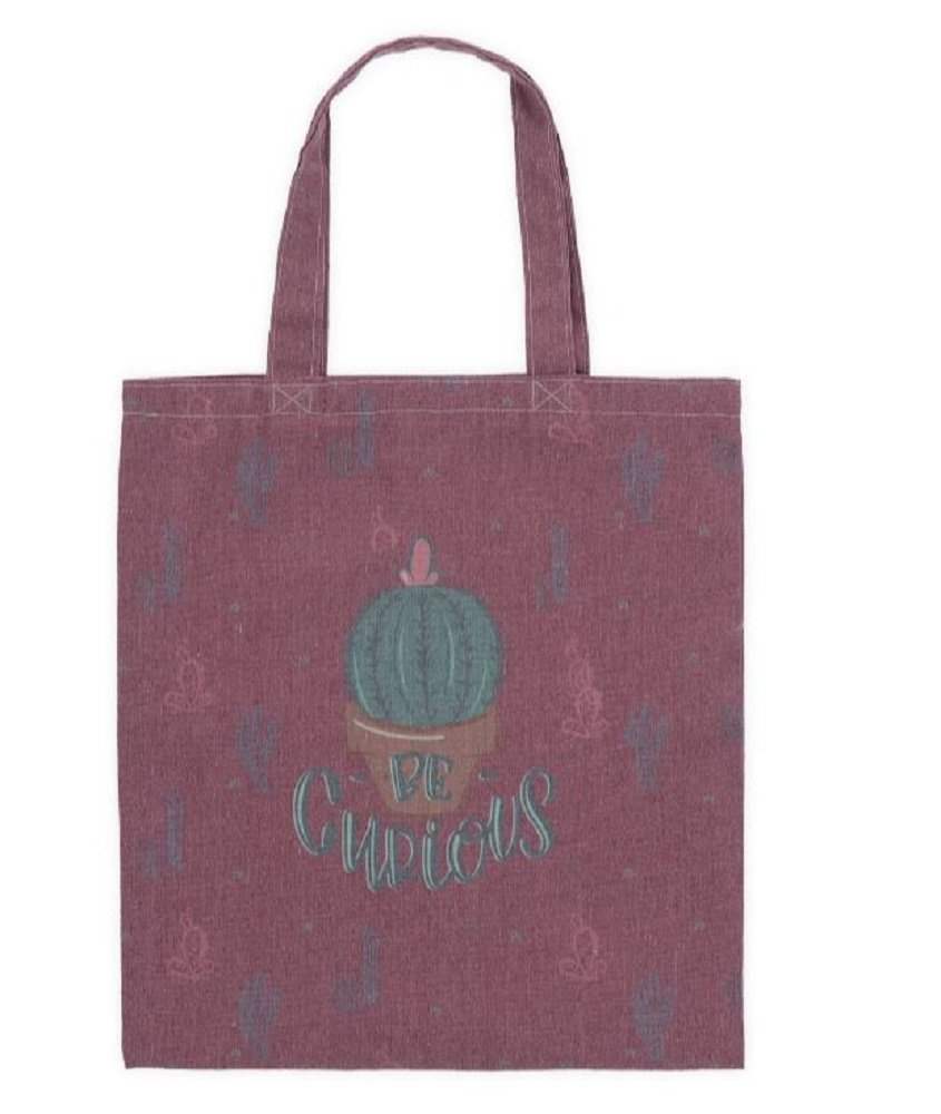 Be Curious Cactus Canvas Tote Bag, 16 3/4'' Tall X 15'' Wide.