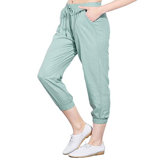 9607f15208805 UAISI Women Elastic Waist Casual Summer Linen Capri Pants at Amazon Women s  Clothing store