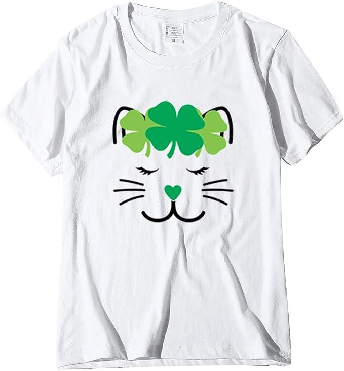 makalon - Camiseta de Manga Corta para Mujer, diseño de San Patricio, Color Verde Blanco Blanco L: Amazon.es: Ropa y accesorios