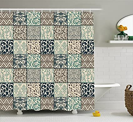 Lunarable Patchwork Shower Curtain By Antique Mosaic With Victorian Garden Motifs Damask And Scroll Flower