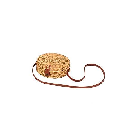 Amazon.com: LANDYShop Bolso de bali de mimbre redondo tejido ...