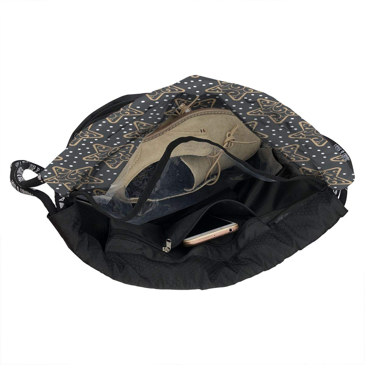 HUOPR5Q Star Snow Drawstring Backpack Sport Gym Sack Shoulder Bulk Bag Dance Bag for School Travel