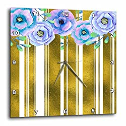 3dRose Anne Marie Baugh - Floral - Glam Digital Faux Gold Bold Stripes With Blue Watercolor Flowers - 13x13 Wall Clock (dpp_263577_2)