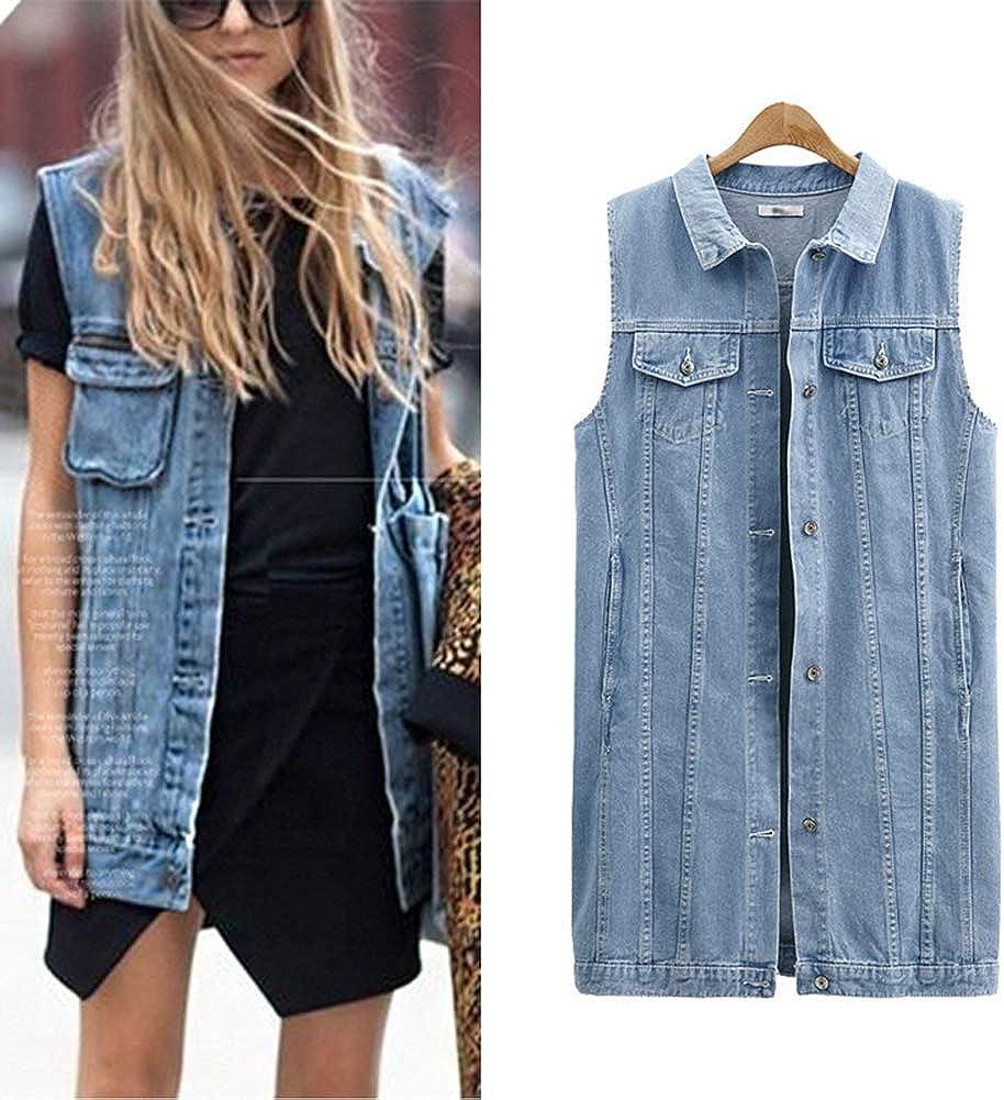 June Womens Oversized Button Down Jean Vest Denim Sleeveless Jacket