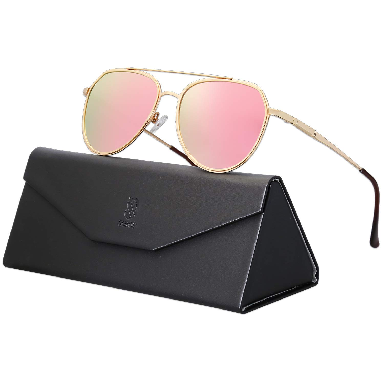 SOJOS Classic Polarized Small Aviator Sunglasses for Women Men FEARLESS SJ1115 with Gold Frame/Pink Mirrored Lens by SOJOS