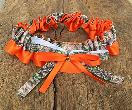 SEXY Camouflage & Orange Satin Bling Bridal Wedding Garter Rhinestone Camo Keepsake Garter Safety Orange