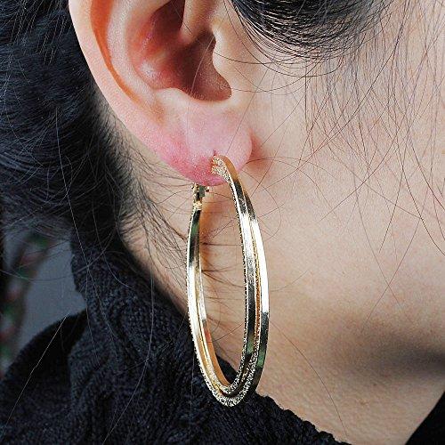 Donna Oro Placcati Sticks A Piatto Doppio Cerchio Grandi Per Originali Orecchini Lucido Jewelry P7xFqw7ZX