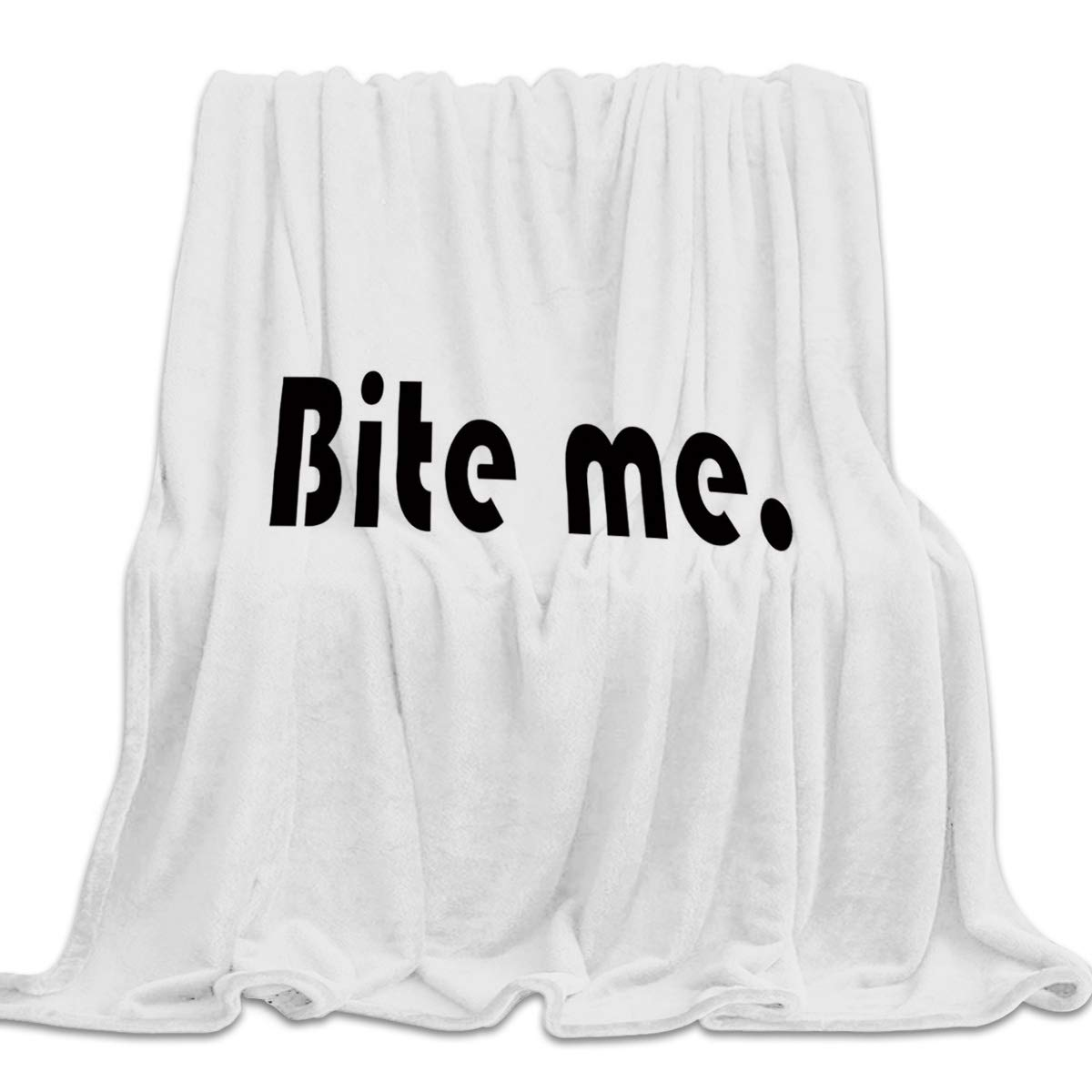 Bite Me1yag9071 39x49inch=100x125cm 39x49 Inch Flannel Fleece Bed Blanket Soft Throw-Blankets for Girls Boys,Simple Circle Dot Pattern Black and White,Lightweight Warm Kids Blankets for Bedroom Living Room Sofa Couch Home Decor