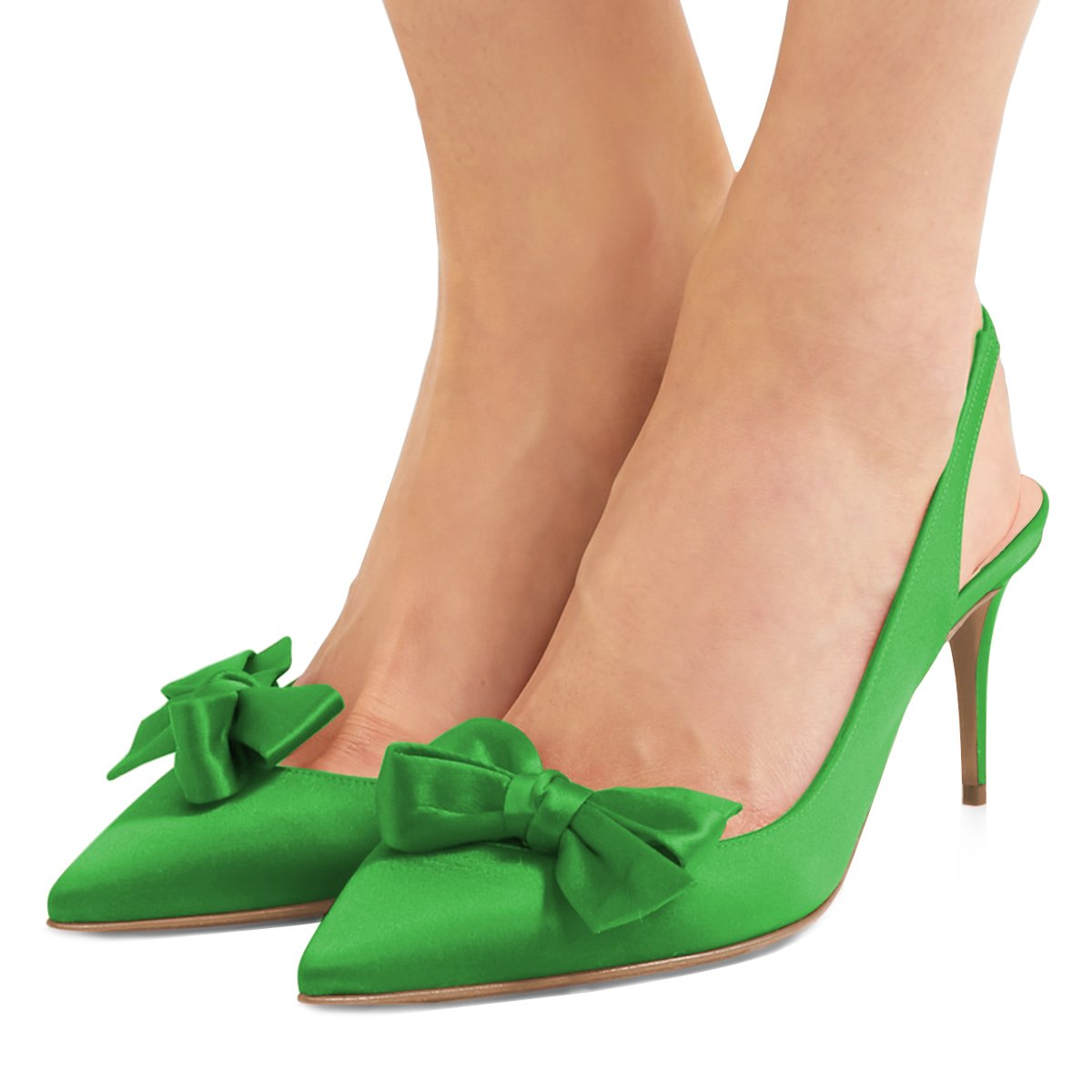XYD Women Fashion Pointed Toe Slingback Pumps High Heel Slip On Dress Shoes with Bows B0799H5QX2 8 B(M) US|Green