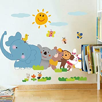 Amazon.com: wallpark dibujos animados Happy Playing animales ...