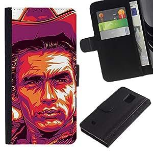 Billetera de Cuero Caso Titular de la tarjeta Carcasa Funda para Samsung Galaxy Note 4 SM-N910 / Cowboy Poster Purple Wild West / STRONG