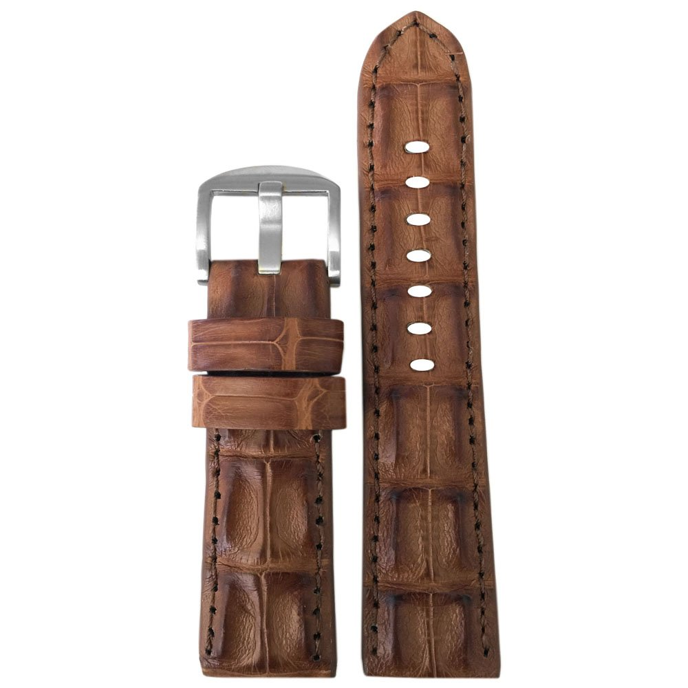 22mm XL Cognac Genuine Hornback Alligator Watch Band with Match Stitching by Panatime 135x85