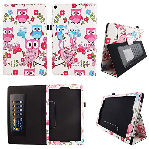 Pink Owl Butterfly AT&T Trek 2 HD Case Model 6461A 2016 Premium PU Leather Stand Cover w Auto Wake / Sleep for AT&T Trek 2 HD 8? Android Tablet Compatible w ZTE Trek 2 HD K88 Stylus Holder ID Slots by wirlesspulse