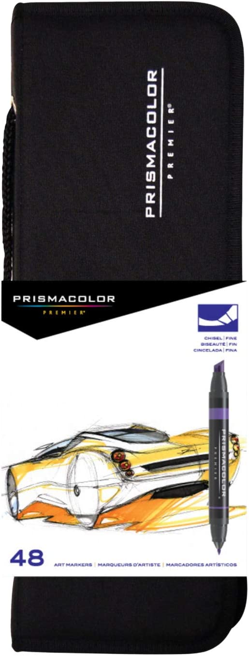 Prismacolor 98 Premier Double-Ended Art Markers, Fine and Chisel Tip with Carrying Case, Assorted