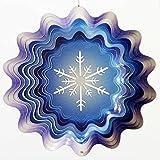 Snowflake in Winter Blue Garden Wind Spinner, Metal Yard Art and Outdoor Décor, 12 Inch