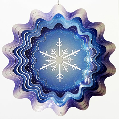 Snowflake China Ornament (Snowflake in Winter Blue Garden Wind Spinner, Metal Yard Art and Outdoor Décor, 12 Inch)