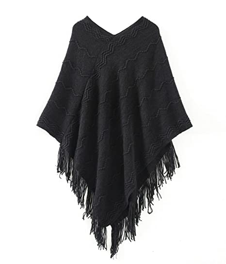 Shawhuaa Womens Knitted Poncho Cape With Tassel Batwing Pullover