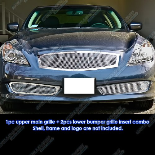 Coupe Mesh Grille - APS Fits 08-10 Infiniti G37 Coupe Mesh Grille Combo Insert #N71054T