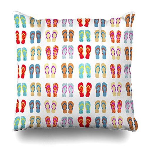 Decorativepillows 16 x 16 inch Throw Pillow Covers,Colorful Summer Beach Flip Flops Pattern Double-Sided Decorative Home Decor Indoor/Outdoor Garden Sofa Bedroom Car Kitchen Nice Gift ()