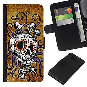 JackGot ( Cráneo Pulpo floral púrpura del oro ) Samsung ALPHA G850 la tarjeta de Crédito Slots PU Funda de cuero Monedero caso cubierta de piel