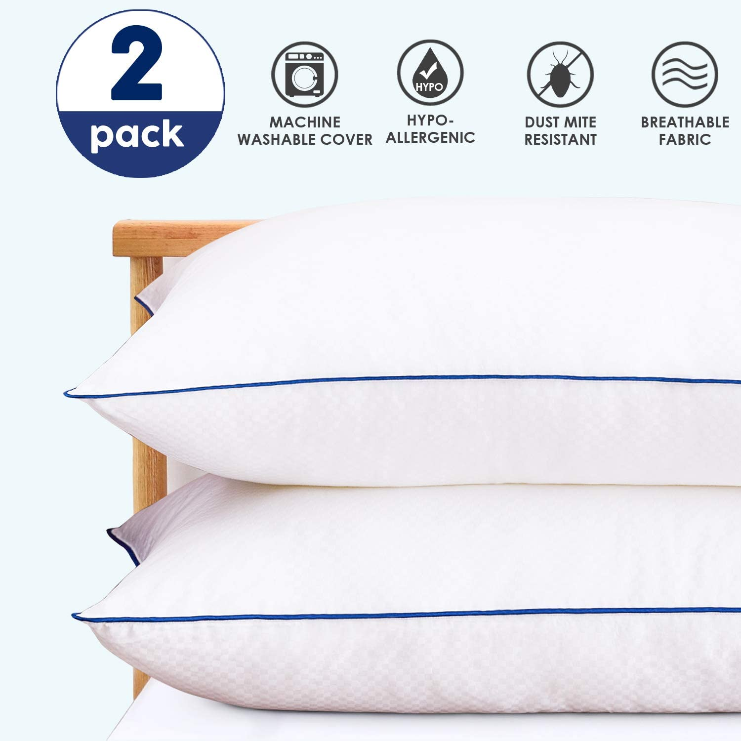 Bed Pillows for Sleeping Set of 2 Hypoallergenic Hotel Collection Gel Pillow Luxury Down Alternative Pillow for Side Back and Stomach Sleeper Cooling Pillows with Breathable Cotton Cover Queen Size