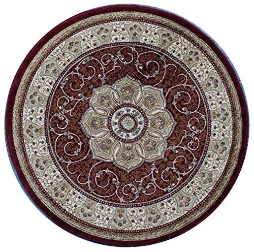 Traditional Round Area Rug Design #404 Burgundy (4 Feet X 4 Feet) (Burgundy Round Rug)