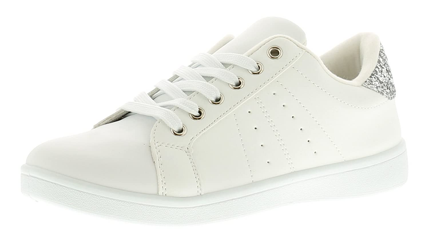 2d77a87a8aad8 Apache Ladies/Womens Synthetic Leather Look Fashion Trainers with Glitter -  White/Sillver - UK Size 8: Amazon.co.uk: Shoes & Bags