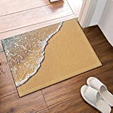 The Tide Bath Mat, Yellow Soft Sand with Sea Tide Flowing Non-Slip Floor Entryways Outdoor Indoor Front Door Mat, 60x40cm Bath Rugs