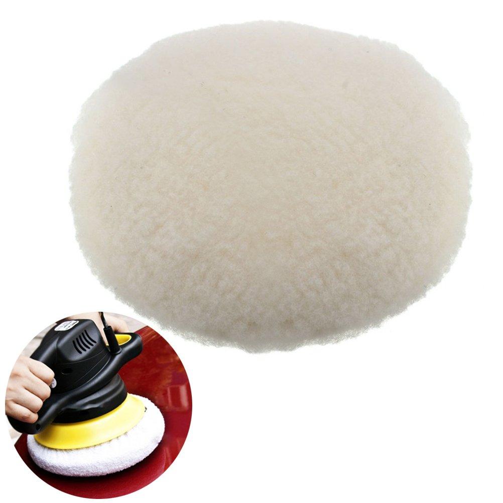 UEETEK 180mm Lambswool Polishing Pad, Hook and Loop Lambswool Bonnet for Car Polisher
