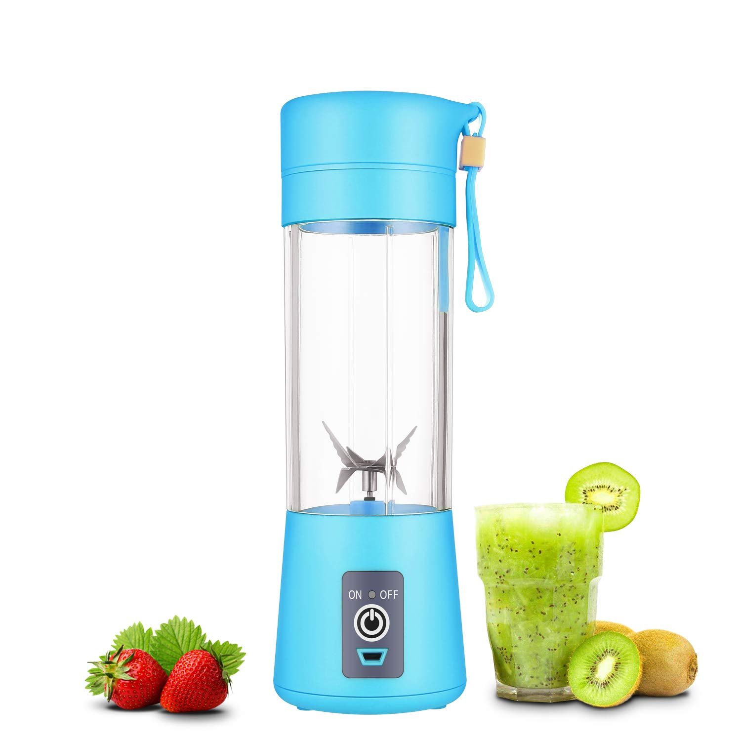Portable blender Personal 6 Blades Juicer Cup Household Fruit Mixer,With Magnetic Secure Switch, USB Charger Cable 380ML (Blue) by WEYIPE