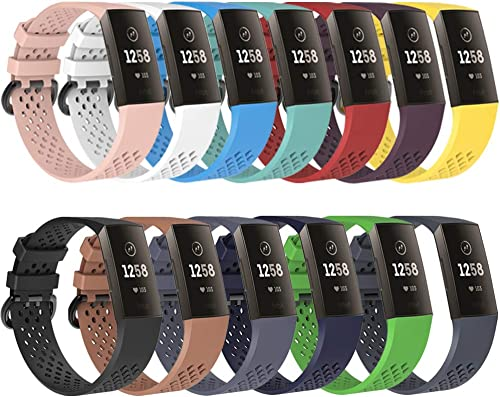 QGHXO Breathable Band Compatible with Fitbit Charge 3, Soft Silicone Adjustable Replacement Sport Strap Band Compatible with Fitbit Charge 3 Charge 3 Special Edition SE Fitness Activity Tracker